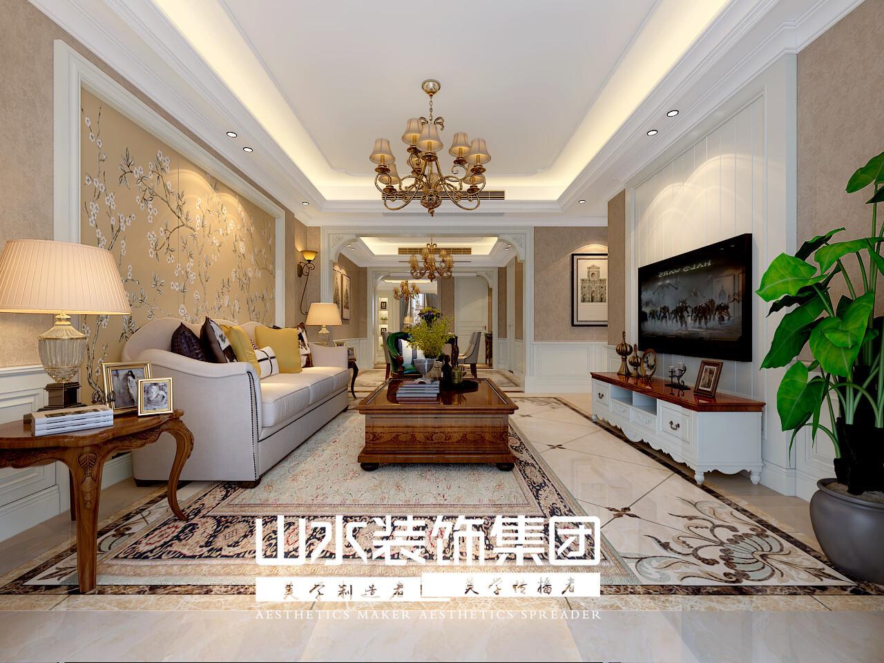 140平三居室美式风格装修效果图