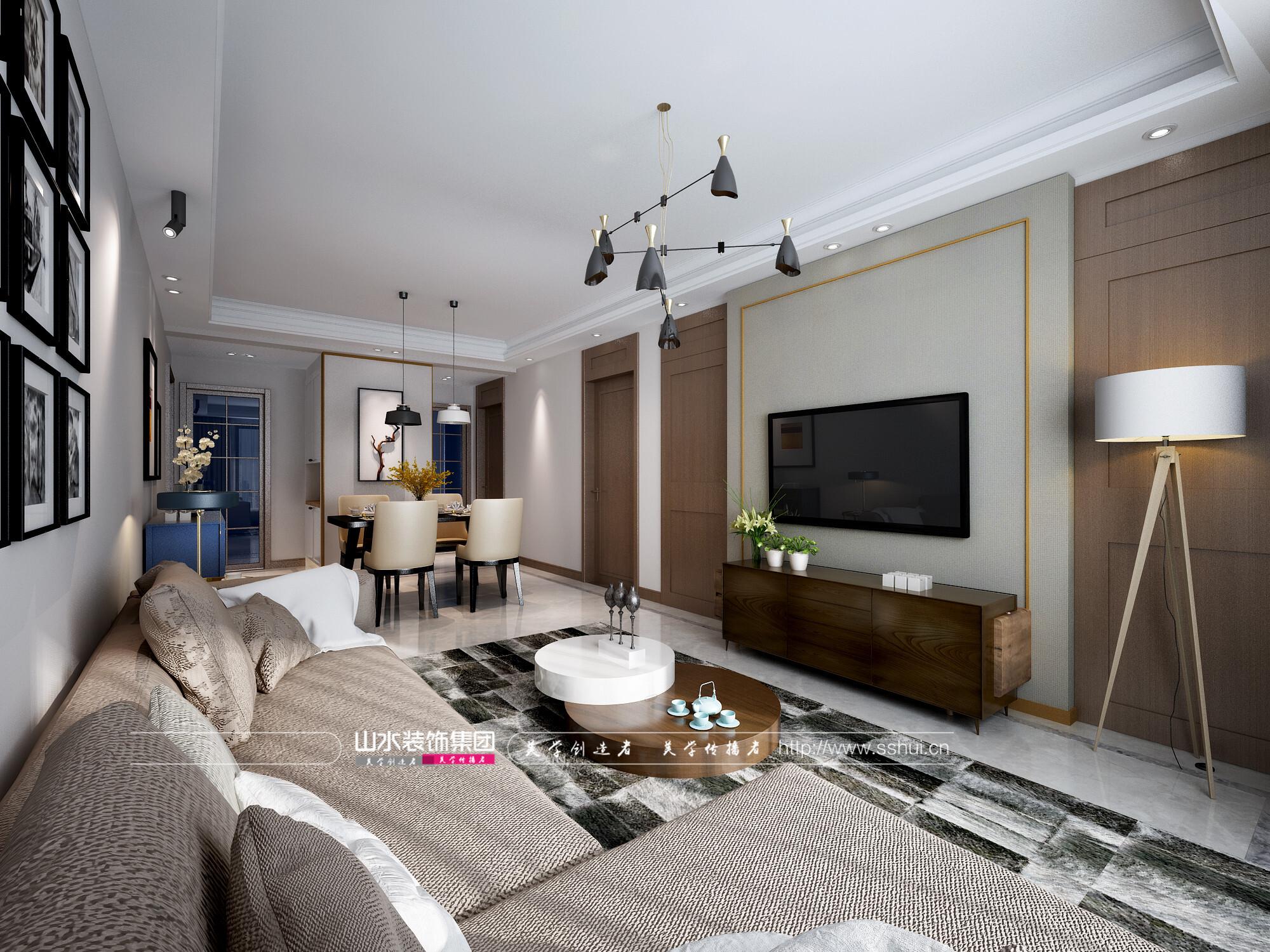 藏龙阁三室两厅105㎡现代风格装修效果图