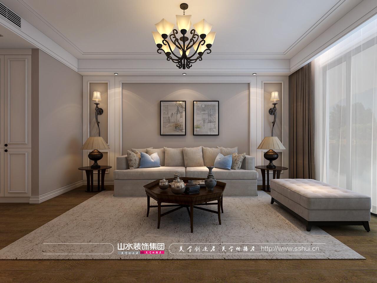 简美风格140平米三居室装修效果图