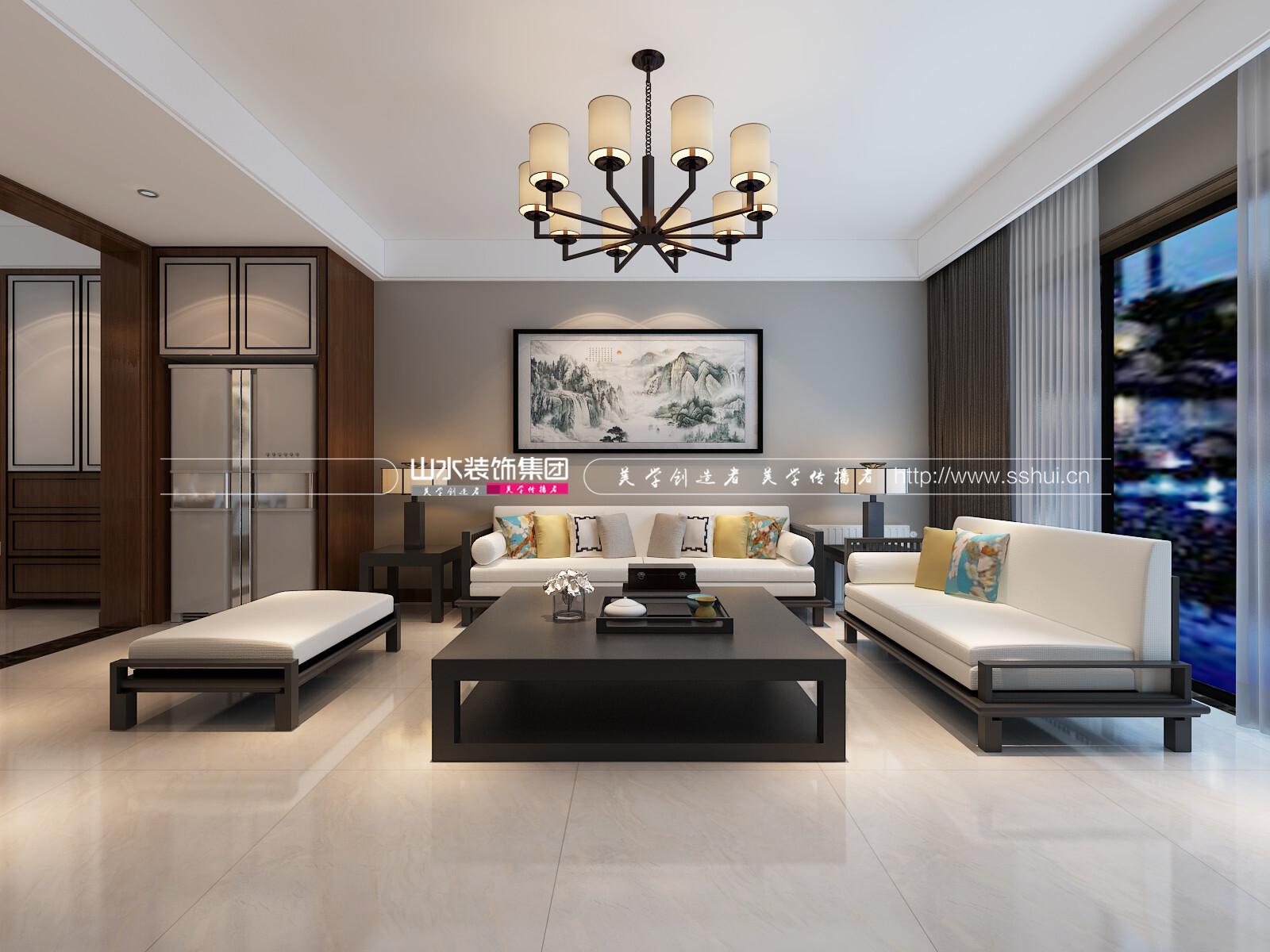 160平米中式风格三居室装修效果图