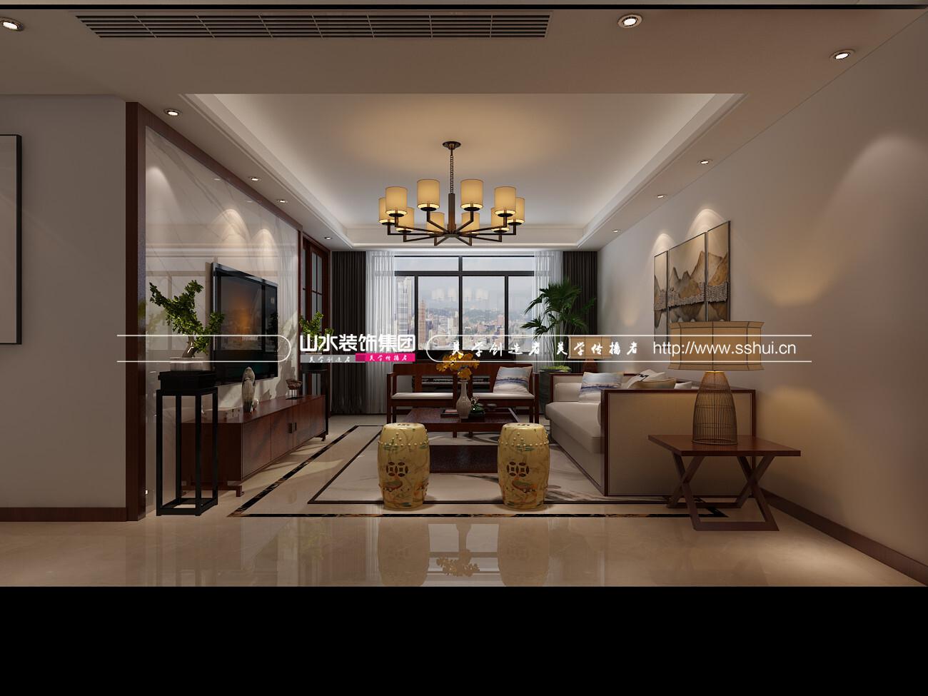 135平米新中式风格三居室装修效果图
