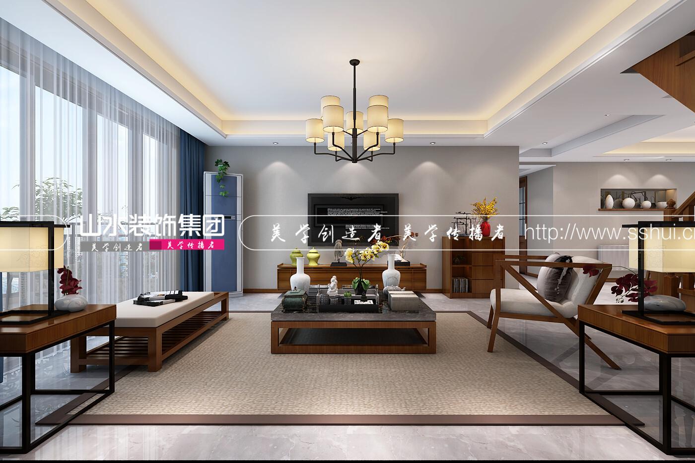 文景新城新中式风格装修效果图-150平米四居室