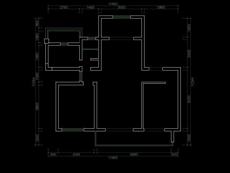 望江臺125平現代風三居室原始戶型圖