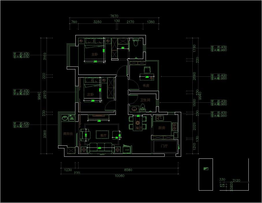 中海城98平三居室平面布置图