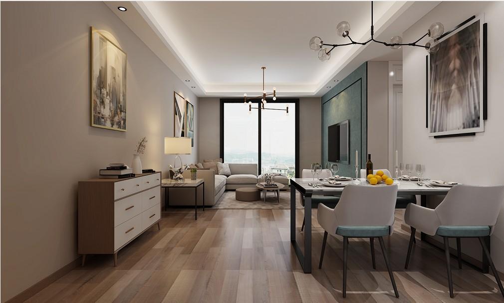 中海城98平三居室现代风格效果图
