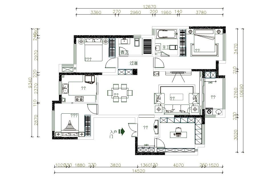 保利西山林语138平三室两厅平面布置图