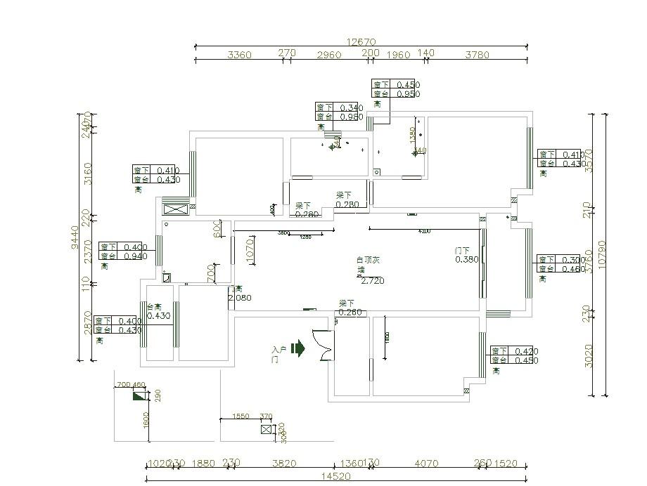 保利西山林语138平三室两厅原始户型图