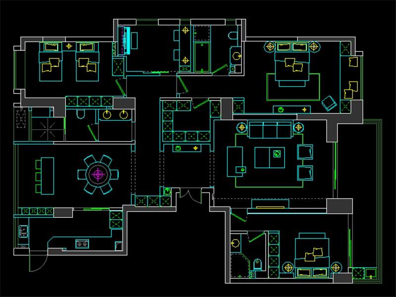 玫瑰園208平四居室平面布置圖