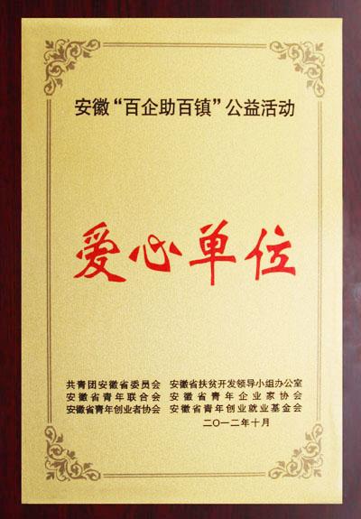 """安徽""""百企助百镇""""公益活动爱心单位"""