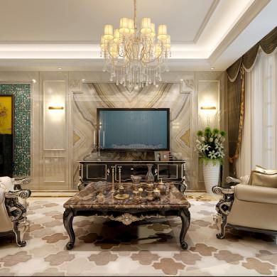 欧式风格装修效果图-140平米三室两厅