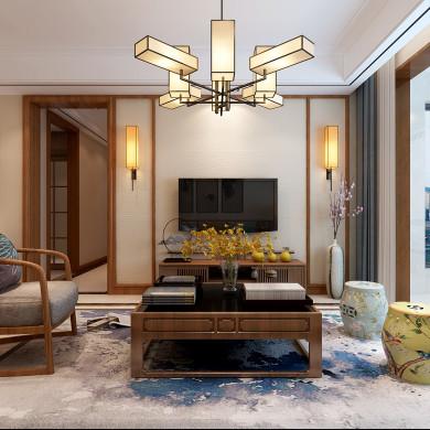 新中式风格装修效果图-94平米三室一厅