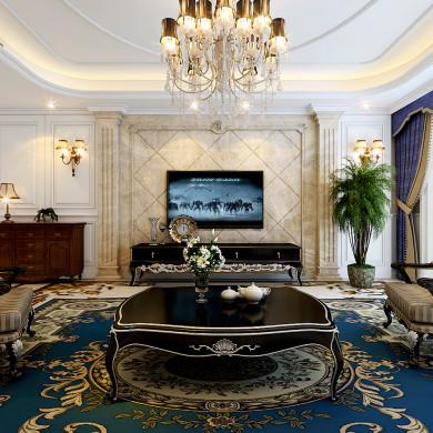 欧式风格装修效果图-160平米三室两厅
