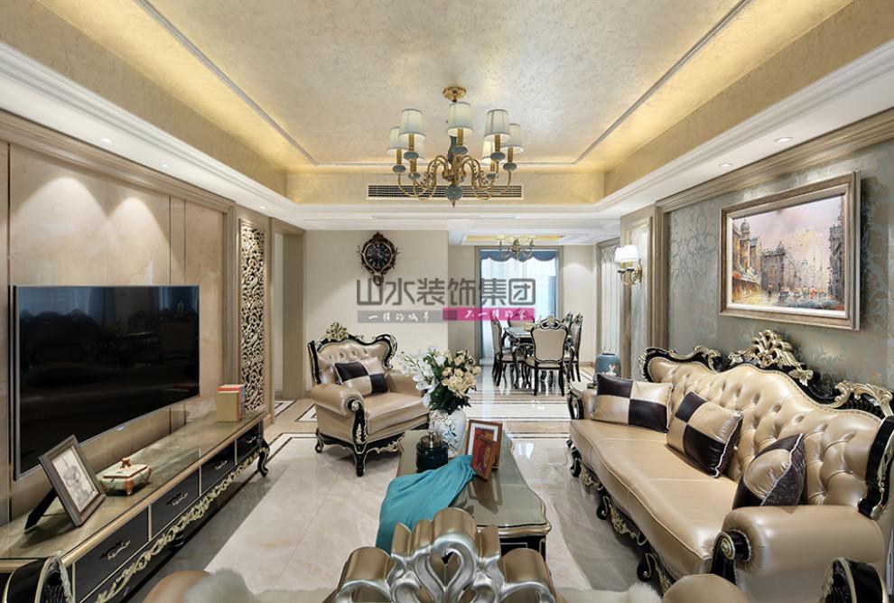 新古典风格装修效果图-140平米三室两厅