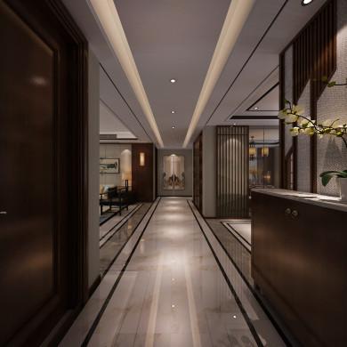 新中式风格装修效果图-163平米三室两厅