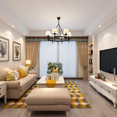 美式风格装修效果图-79平米两室一厅