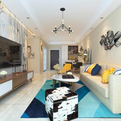 现代风格装修效果图-100平米三室一厅