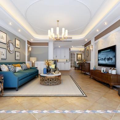 美式风格装修效果图-160平米三室两厅