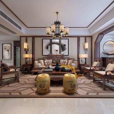 新中式风格装修效果图-149平米四居室