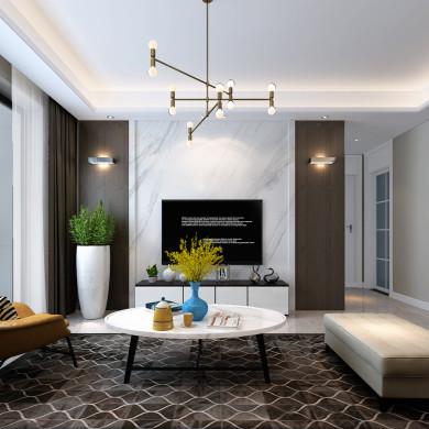现代风格装修效果图-96平米三居室