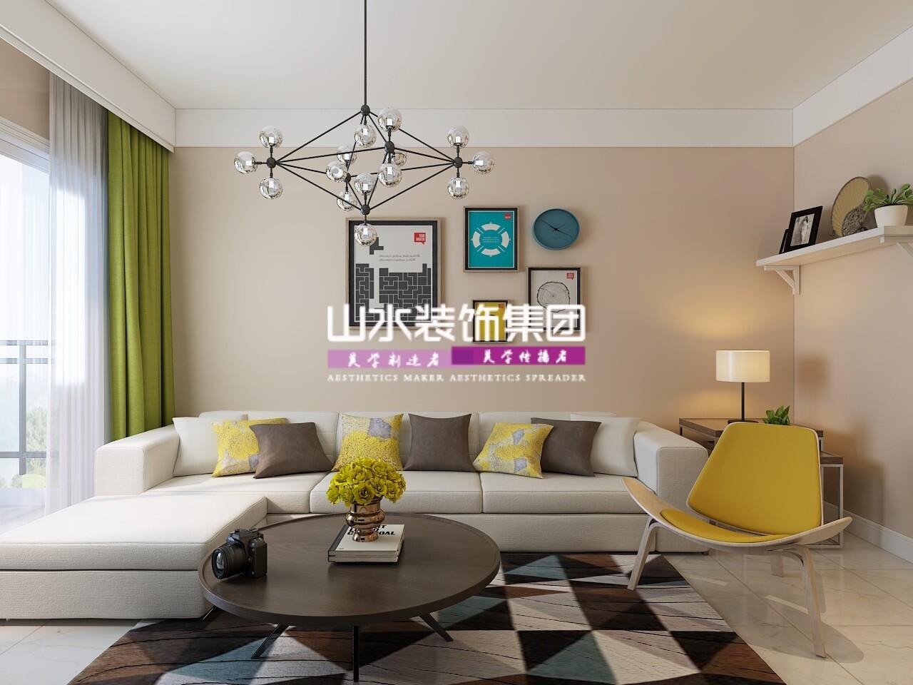 现代简约风格82平三居室装修效果图