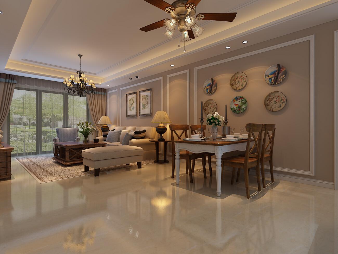 120平米美式风格四居室装修效果图