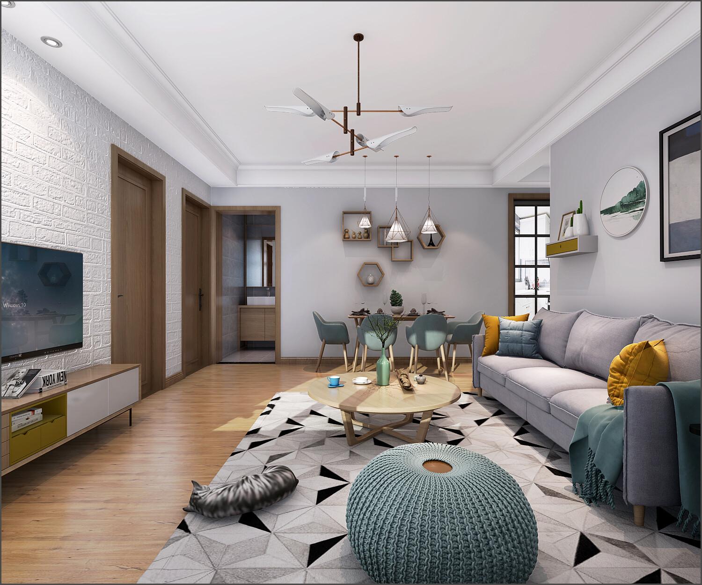 现代风格装修效果图-80平米两室两厅