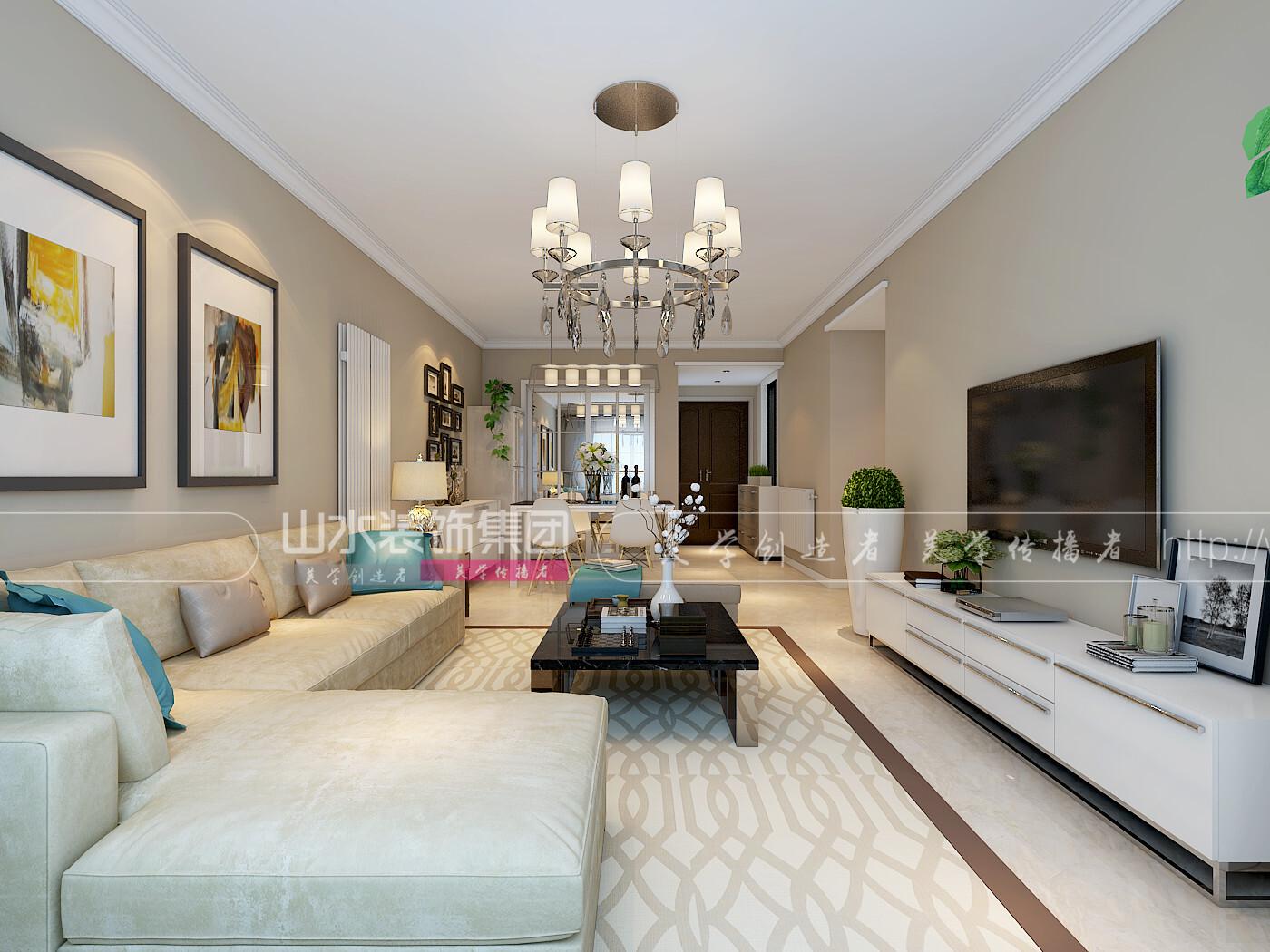 现代风格90平米二居室装修效果图
