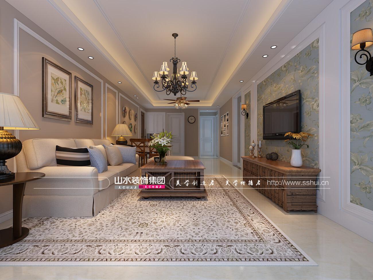 藏龙阁美式风格120平方四室两厅装修效果图