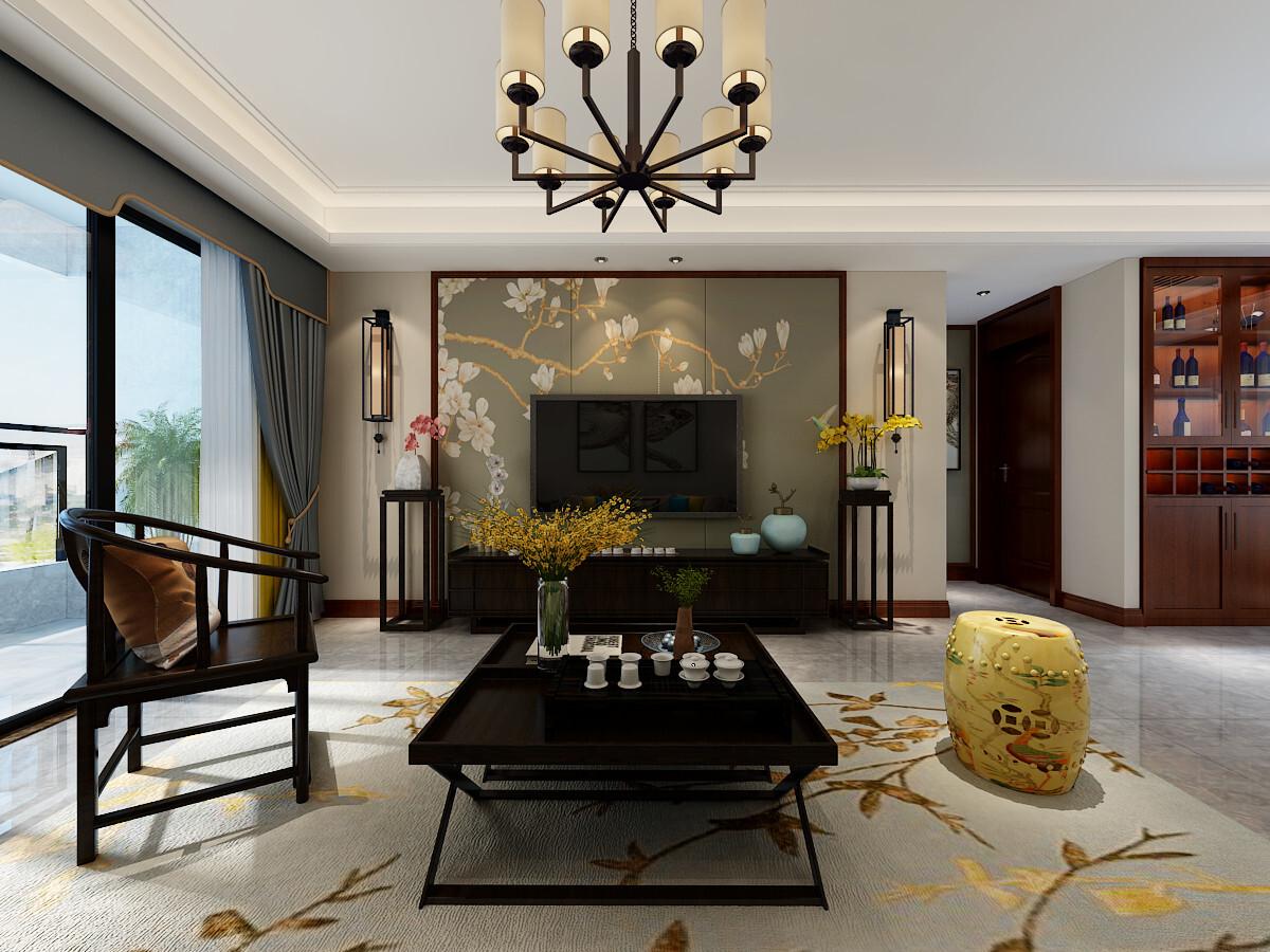 120平米新中式风格四居室装修效果图