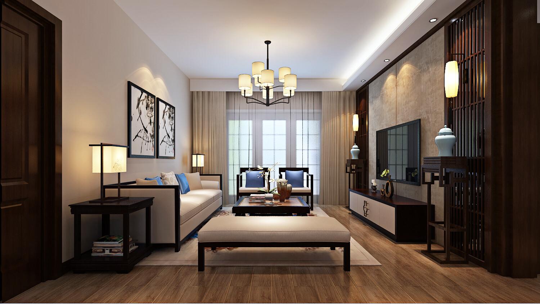 110平米簡約中式風格三居室裝修效果圖