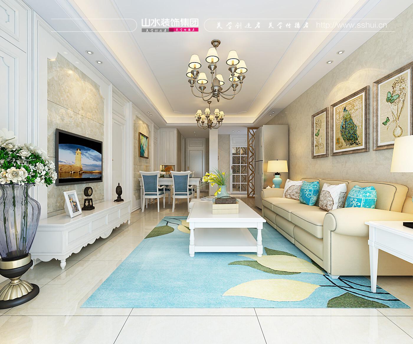琥珀五環城98平三室兩廳一衛歐式風格裝修效果圖