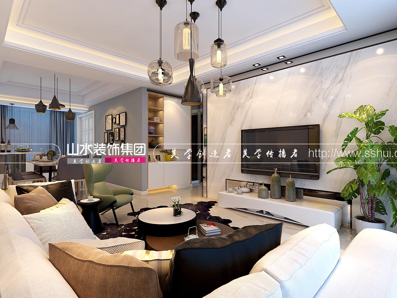萬達華府現代風格裝修效果圖-127平米三居室