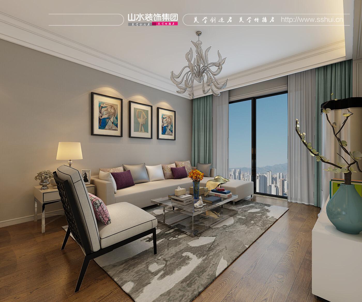 琥珀五環城98平三室兩廳一衛現代風格裝修效果圖