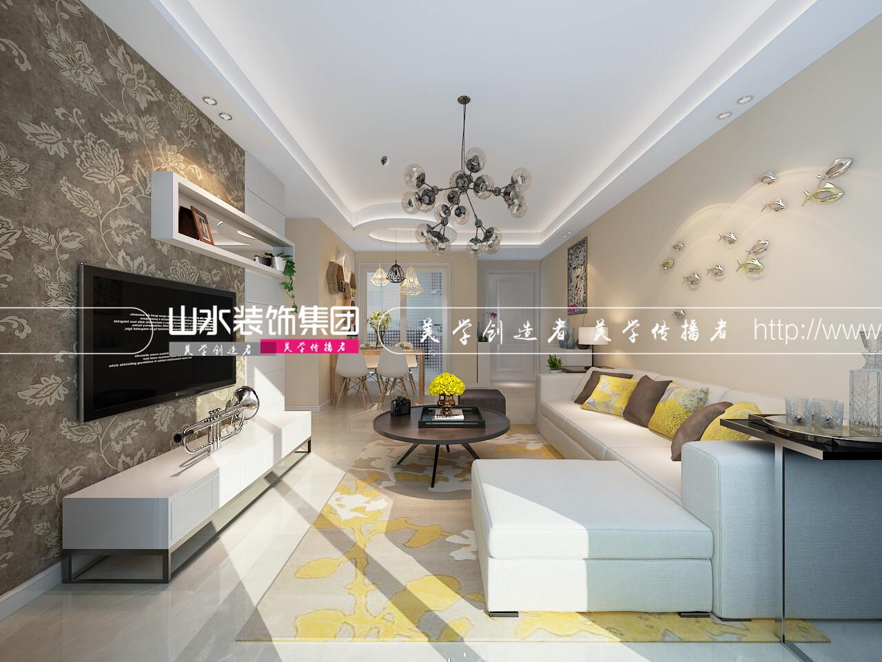 萬達華府現代風格裝修效果圖-96平米三居室