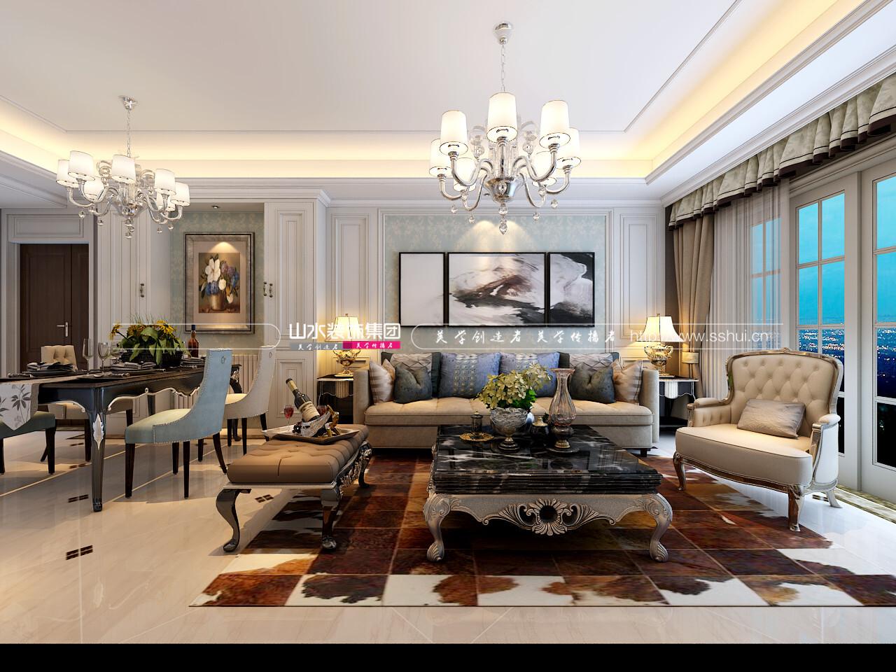 琥珀五環城98平簡歐三室兩廳一衛簡歐風格裝修效果圖