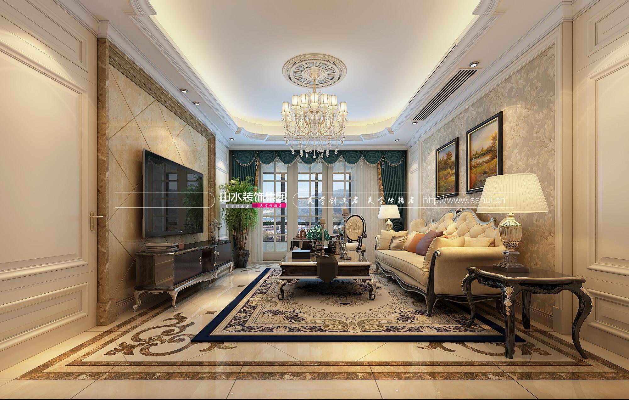 玫瑰園200平米歐式風格三居室裝修效果圖