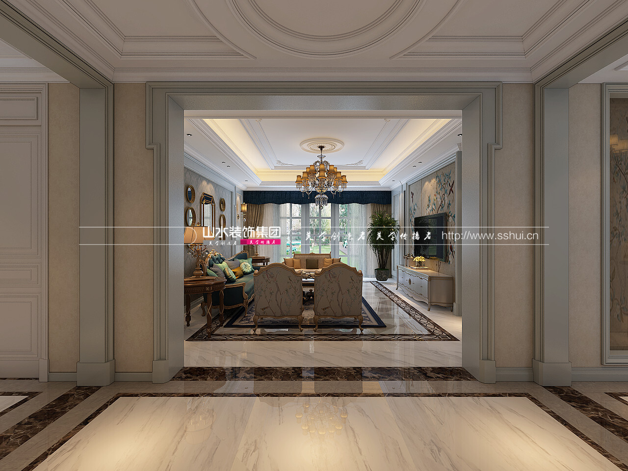 玫瑰園法式合院現代風格裝修效果圖-200平米別墅
