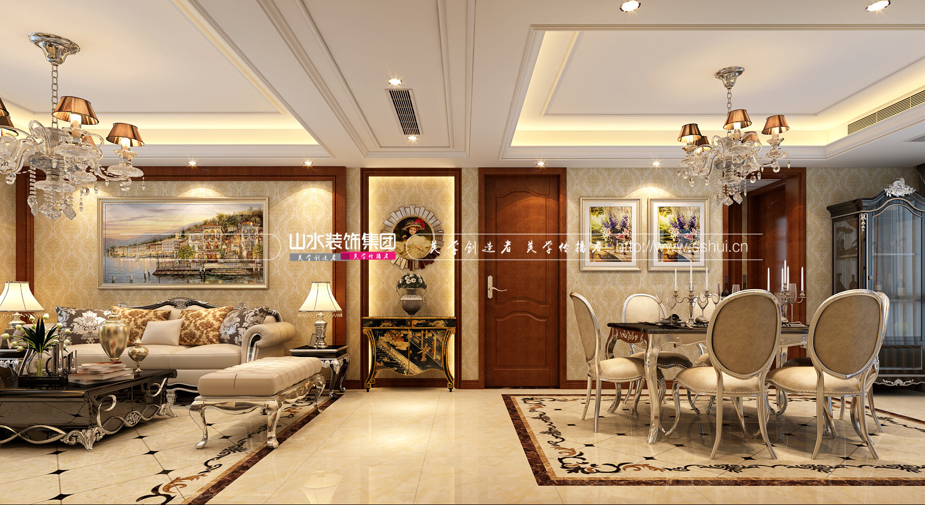 萬達華府歐式風格裝修效果圖-141平米三居室