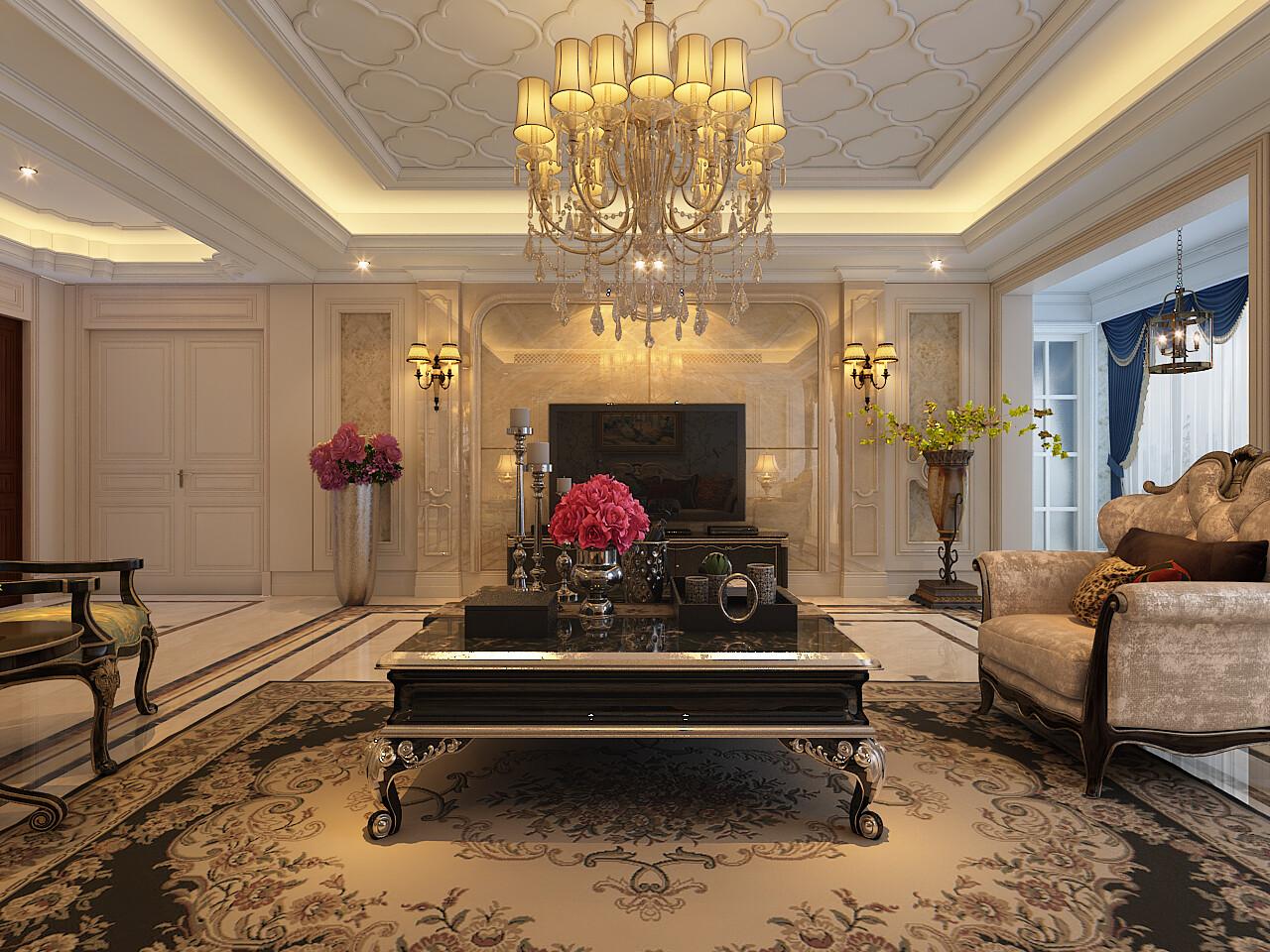 160平米歐式風格四居室裝修效果圖