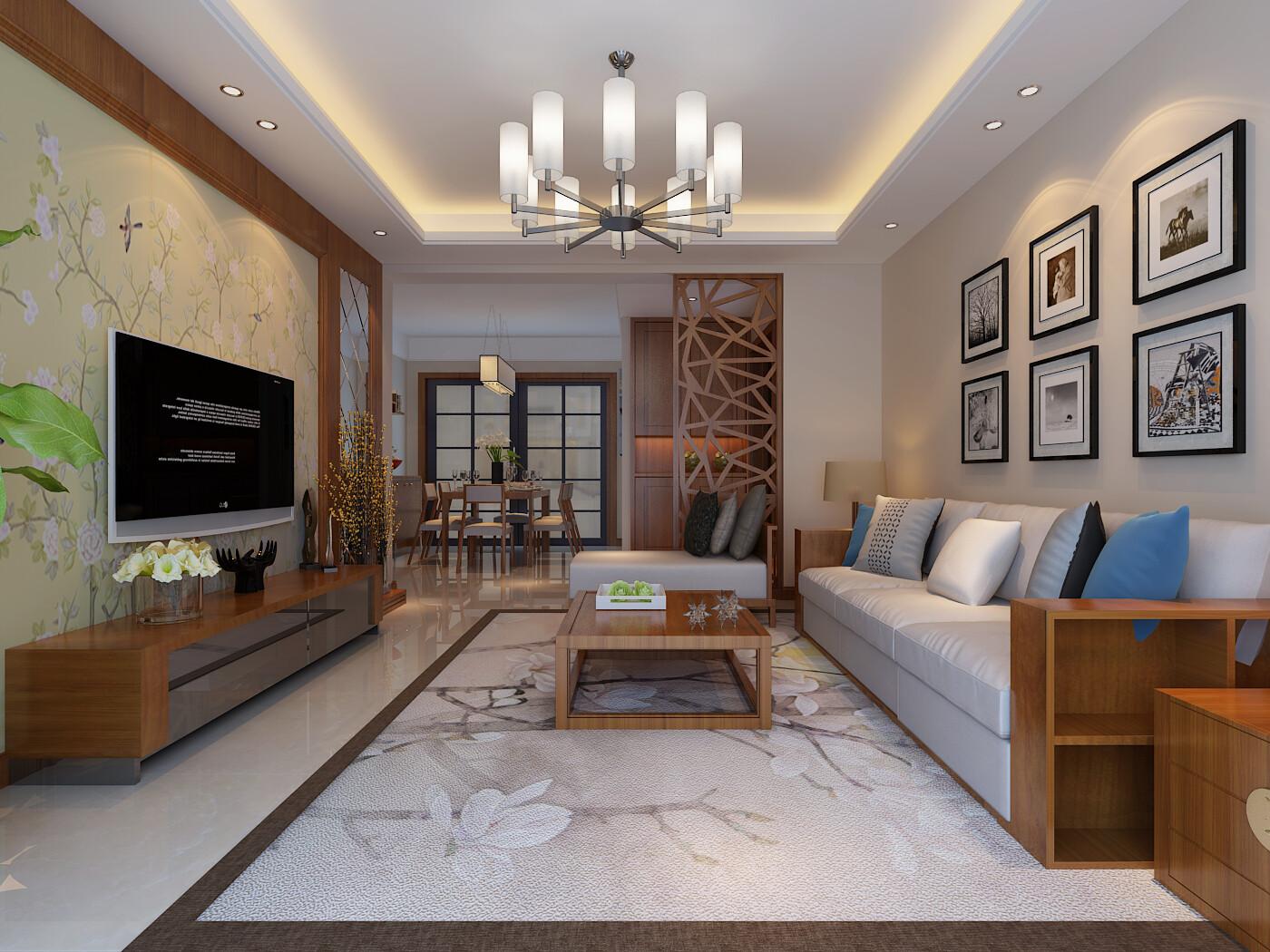 128平米新中式風格三居室裝修效果圖
