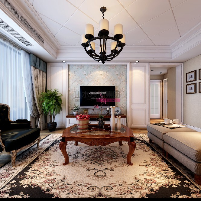 120平方四室兩廳美式風格裝修效果圖