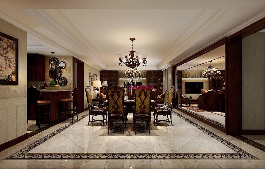 140平米三室两厅美式风格装修效果图