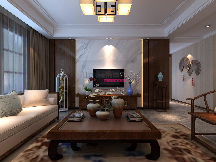 130平方四室两厅两卫中式风格装修效果图