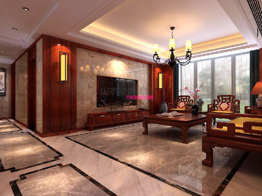 紫御府中式风格150平三室两厅装修效果图