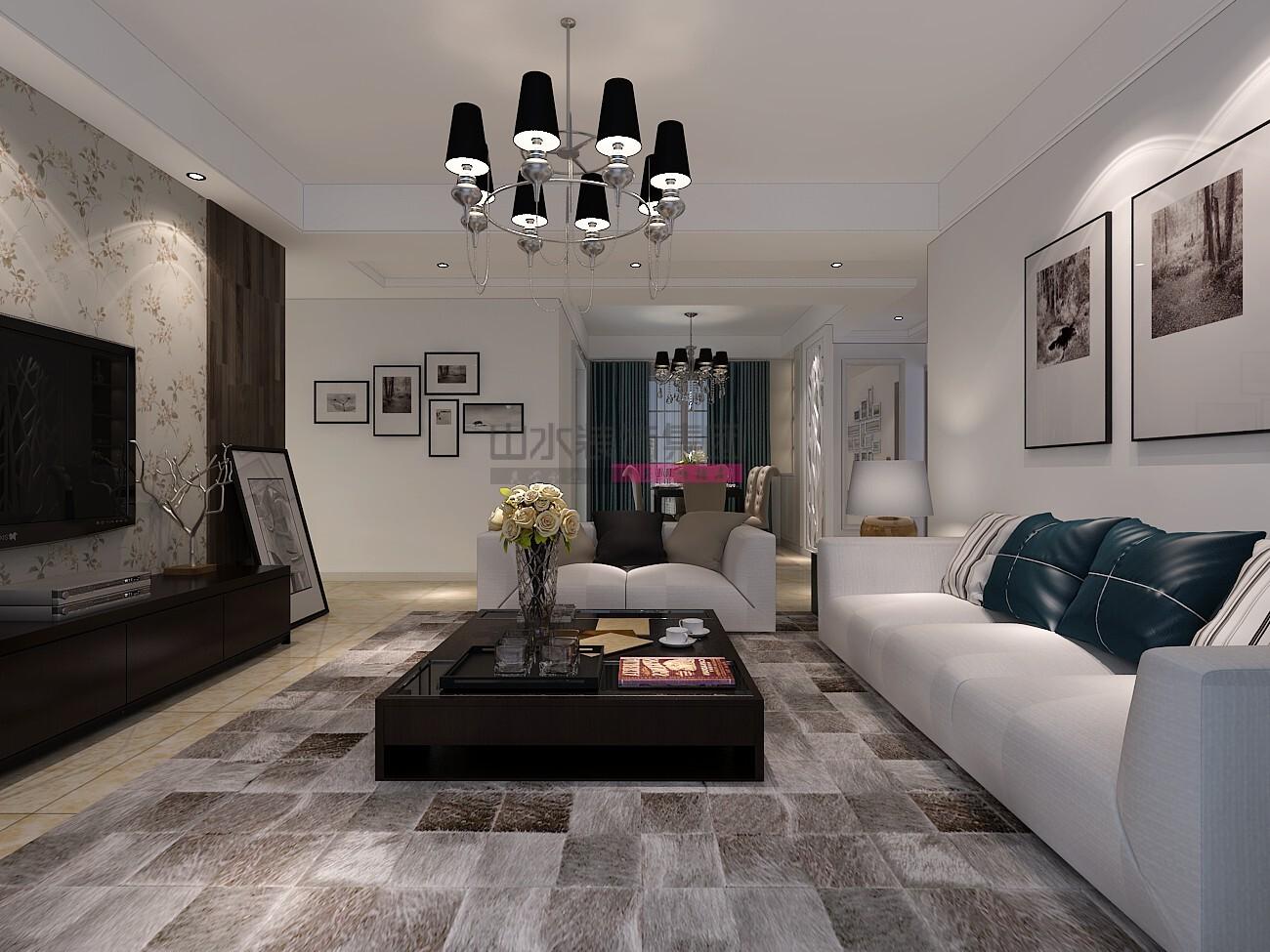 现代简约风格130平米三居室装修效果图