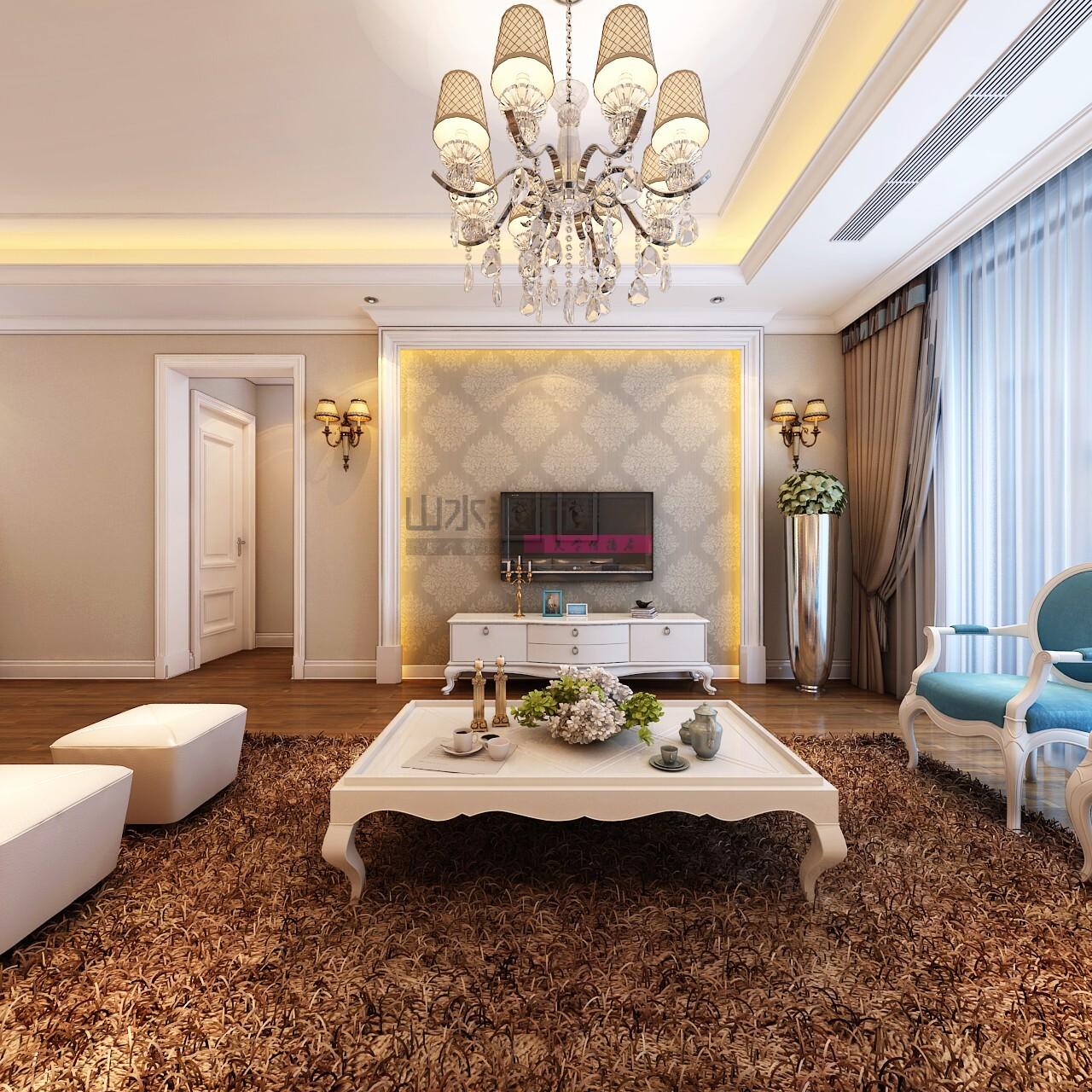 简欧设计风格120平方三室两厅装修效果图