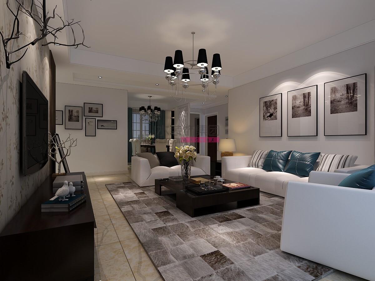 110平现代风格三室两厅装修效果图