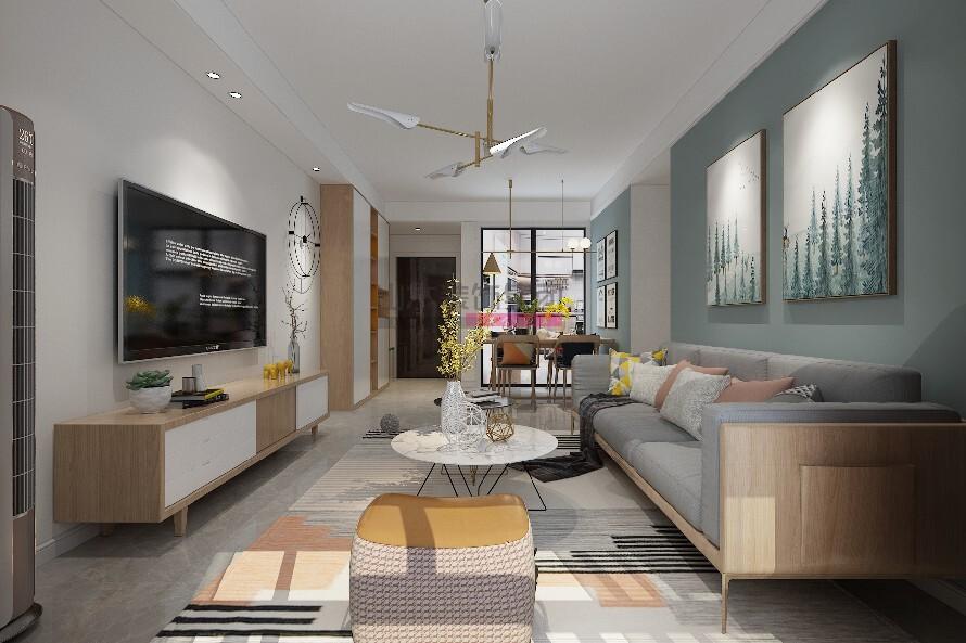 北欧装修风格三室两厅效果图