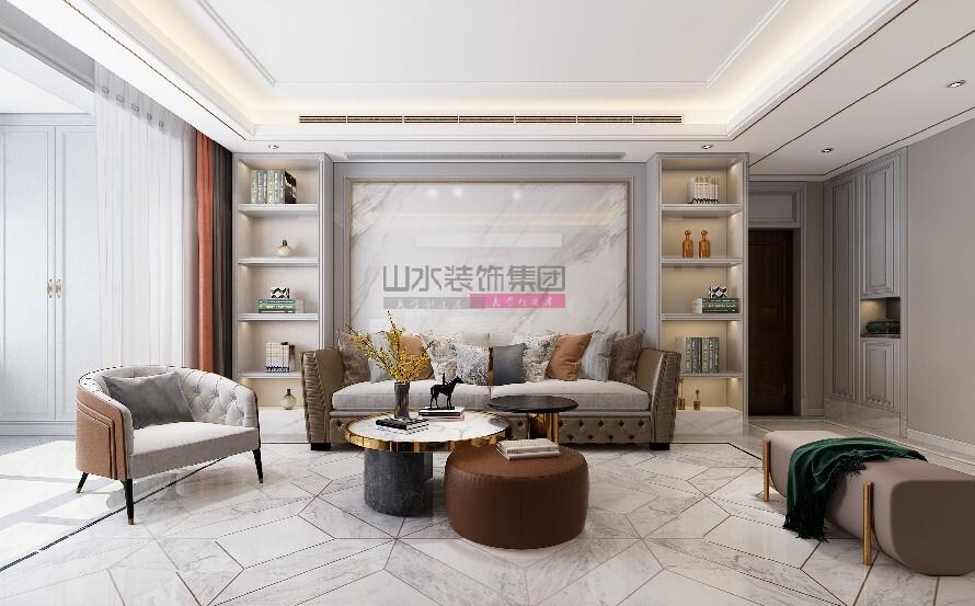 简美风格装修效果图140平米三室两厅