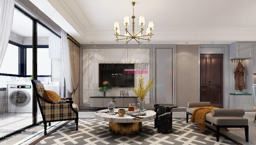 简美风格装修效果图三室两厅